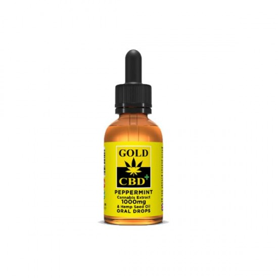 Gold CBD 1000mg CBD Cannabis Extract Hemp Seed Oil 30ml - Flavour: Peppermint